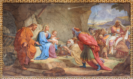 adoration: ROME, ITALY - MARCH 27, 2015: The Adoration of Magi fresco in Basilica di Sant Agostino (Augustine) by  Pietro Gagliardi form 19. cent.