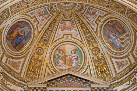 visitation: ROME, ITALY - MARCH 27, 2015: The fresco in apse of side chapel of st. Joseph (Stories from the life of the Virgin Mary 1587 - 1588 by A. Nucci) in Basilica di Sant Agostino (Augustine).