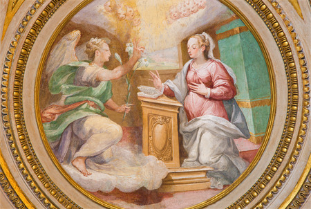 angel gabriel: ROME, ITALY - MARCH 27, 2015: The fresco of Annunciation in apse of side chapel of st. Joseph (1587 - 1588) by A. Nucci in Basilica di Sant Agostino (Augustine).
