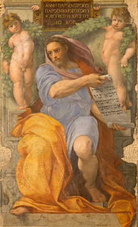 isaiah: ROME, ITALY - MARCH 27, 2015: The prophet Isaiah fresco in Basilica di Sant Agostino (Augustine) by Raffaello form year 1512.
