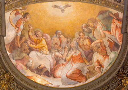 ROME, ITALY - MARCH 27, 2015: The Pentecost fresco in church Santa Maria dell Anima by Francesco Salviati from 16. cent.