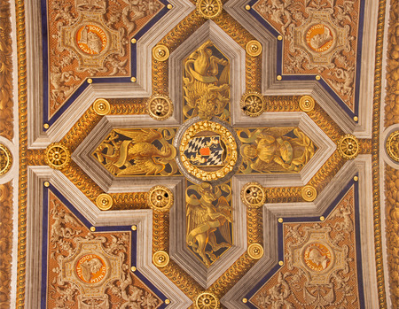 anima: ROME, ITALY - MARCH 27, 2015: The fresco of symbols of four Evangelists in the corss on the ceiling in church Santa Maria dell Anima from 16. cent. by Ludovico Seitz-