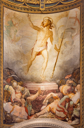 anima: ROME, ITALY - MARCH 27, 2015: The Resurrection fresco in church Santa Maria dell Anima by Francesco Salviati from 16. cent.