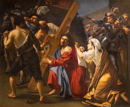 ROME, ITALY - MARCH 27, 2015: Jesus under cross painting by Dirk van Baburen 1617 in church San Pietro in Montorio.