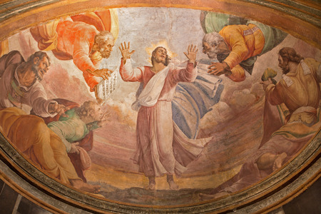 anima: ROME, ITALY - MARCH 27, 2015: The Transfiguration on the mount Tabor fresco in church Santa Maria dell Anima by Francesco Salviati from 16. cent.