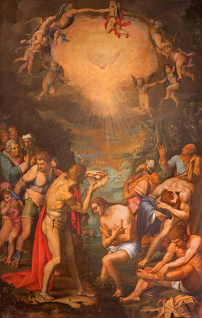 daniele: ROME, ITALY - MARCH 27, 2015: The painting of Baptism of Christ by Daniele da Volterra in church San Pietro in Montorio from 16. cent. Editorial