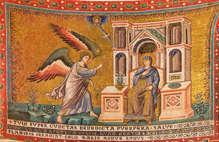 angel gabriel: ROME, ITALY - MARCH 27, 2015: Old mosaic the Anuntiation in church Basilica di Santa Maria in Trastevere from 13. cent. by Pietro Cavallini.