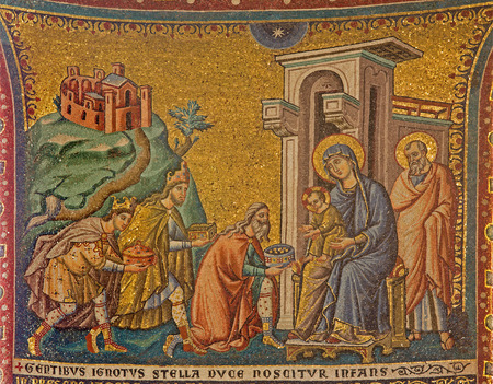 adoration: ROME, ITALY - MARCH 27, 2015: Old mosaic of Adoration of the Magi in church Basilica di Santa Maria in Trastevere from 13. cent. by Pietro Cavallini.