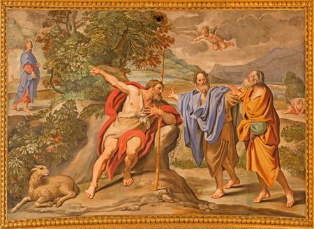 ROME, ITALY - MARCH 27, 2015: The fresco as The John the baptist shows the Christ church Basilica di Sant Andrea della Valle by Domenichino (1621 - 1628) Publikacyjne