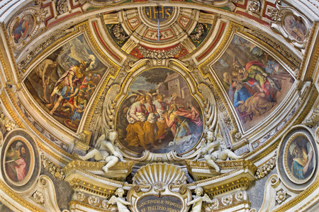 visitation: ROME ITALY  MARCH 26 2015: The fresco of Visitation of God by Abraham in apse of side chapel of St. John in church Chiesa di Santo Spirito in Sassia by Marcelo Venusti 1510  1579