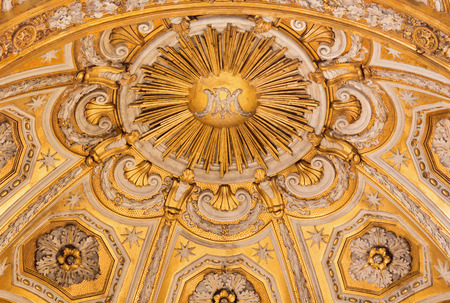 anima: ROME ITALY  MARCH 27 2015: The stucco of main apse in church Santa Maria dell Anima from 17. cent. by Ludovico Seitz