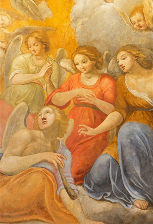 augustine: ROME ITALY  MARCH 27 2015: The fresco of angels choirs by Giuseppe Vasconio early 17. cent. in Basilica di Sant Agostino Augustine. Editorial