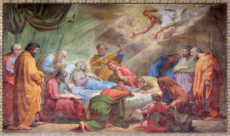 ROME ITALY  MARCH 27 2015: The Dormition of Virgin Mary fresco in Basilica di Sant Agostino Augustine by Pietro Gagliardi form 19. cent. Editorial
