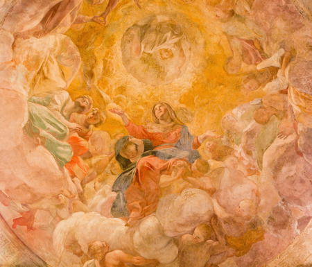 assumption: ROME ITALY  MARCH 27 2015: The Assumption of Vigin fresco in cupola of side chapel by Giovanni Lanfranco 1613 in Basilica di Sant Agostino Augustine