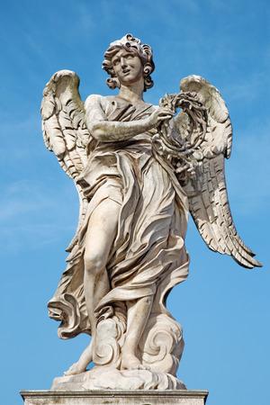 bernini:  Ponte SantAngelo  Angels bridge  Angel with the crown of thorns G. L. Bernini and son Paolo. original at SantAndrea delle Fratte copy by Paolo Naldini