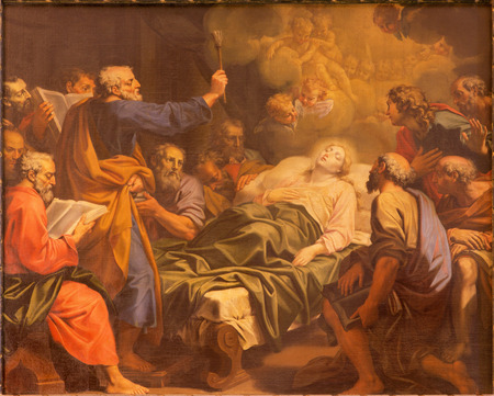 mother god: ROME ITALY  MARCH 26 2015: The pain of The Dormition of Virgin Mary by Angelo Masserotti 1645  1723 in church Chiesa di Santa Maria Annunziata.