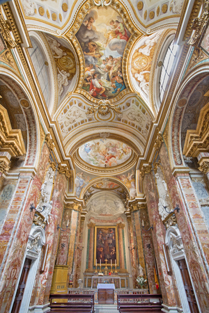 nave: ROME ITALY  MARCH 26 2015: The nave of church Chiesa di San Nicola dei Lorensi with the ceiling fresco by Corrado Giaquinto from years 1731  33.