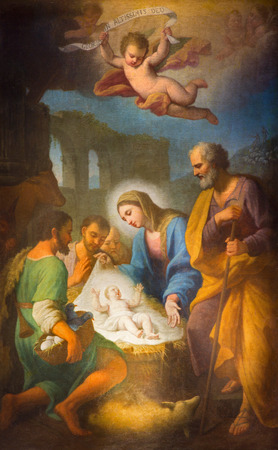 ROME ITALY  MARCH 27 2015: The painting of Nativity in side chapel of Basilica di Santa Maria in Trastevere by Stefano Parrocel 1696  1776.