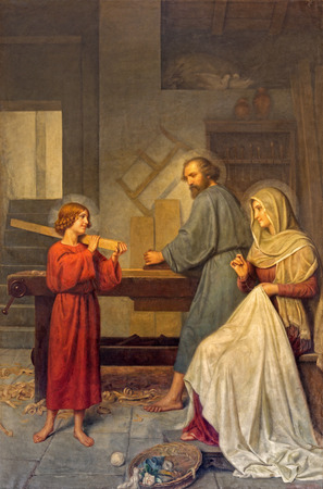 family church: ROME ITALY  MARCH 25 2015: The painting of Holy Family by Angelo Zoffoli 18601910 in baroque church Basilica dei Santi Ambrogio e Carlo al Corso.