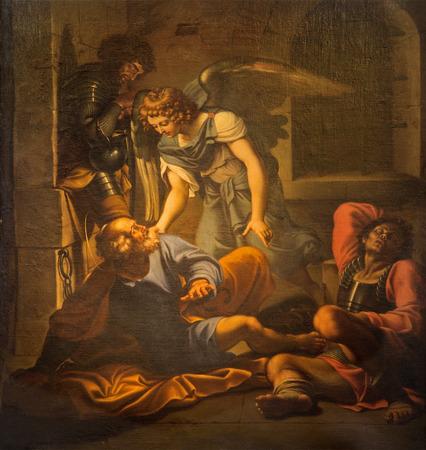 vincoli: ROME ITALY  MARCH 26 2015: The Liberation Of Saint Peter painting by Domenichino 1581  1641 in church Chiesa di San PIetro in Vincoli.