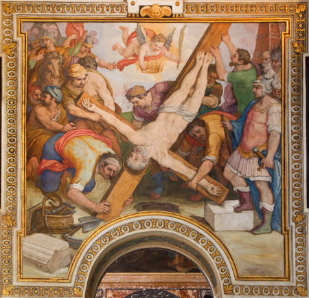 ROME ITALY  MARCH 26 2015: The Crucifixion of st. Peter fresco by G. B. Ricci from 16. cent. in church Chiesa di Santa Maria in Transpontina and chapel of st. Peter and Paul. Editorial