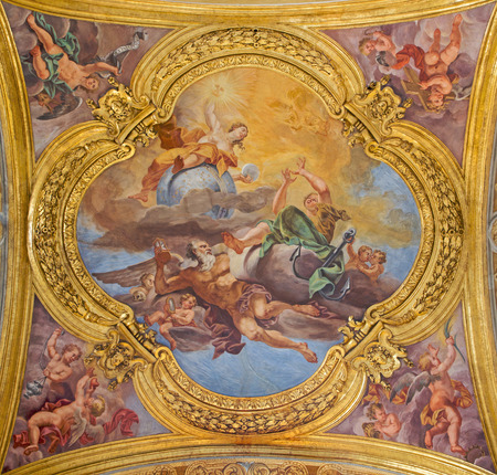 ROME ITALY  MARCH 25 2015: The fresco of virtues of Hope and Truth on the little cupola of side nave in church Basilica dei Santi Ambrogio e Carlo al Corso by Pio Paolini from 1678  81 Editorial