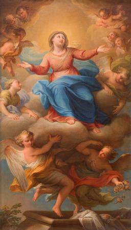 assumption: The Assumption of the Virgin Mary painting by Andrea Casali from year 1781 in church Chiesa della Santissima Trinita degli Spanoli.