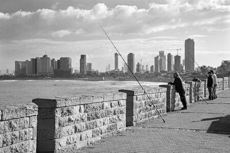 jafo: TEL AVIV ISRAEL  MARCH 2 2015: The coast under old Jaffa and Tel Aviv in morning. Editorial