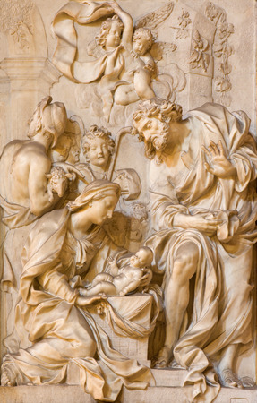 adoration: ROME ITALY  MARCH 24 2015: The marble relief of Adoration by the Shepherds in church Chiesa di Santa Maria della Vittoria by Etienne Monnot 1657  1733. Editorial