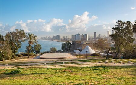 jafo:  The outlook to waterfront and city from Gan HaPisga Summit Garden in old Jaffa