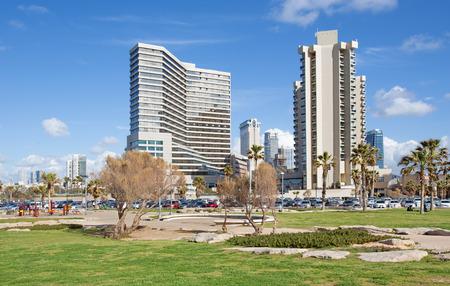 aviv: TEL AVIV ISRAEL  MARCH 2 2015: The modern high buildings on coast of Tel Aviv