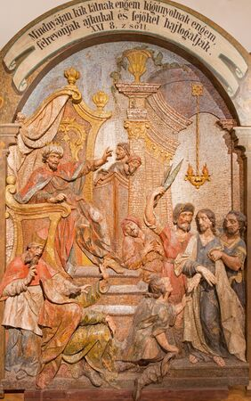 new testament: BANSKA STIAVNICA SLOVAKIA  FEBRUARY 5 2015: The Jesus is brought before Herodes carved relief as the part of baroque Calvary from years 1744  1751 by Dionyz Stanetti. Editorial