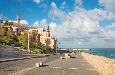 tel: TEL AVIV ISRAEL  MARCH 2 2015: The waterfront under old Jaffa in Tel Aviv in morning. Editorial