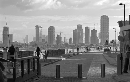 jafo: TEL AVIV ISRAEL  MARCH 2 2015: The waterfront under old Jaffa and Tel Aviv in morning.