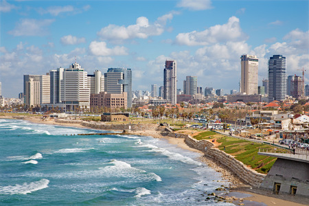 jafo: TEL AVIV ISRAEL  MARCH 2 2015: The outlook to waterfront and city from old Jaffa
