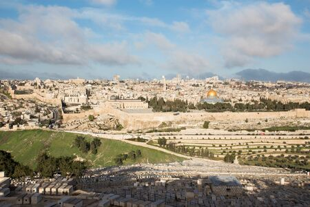 outlook: Jerusalem  Outlook from Mount of Olives to old city Stock Photo