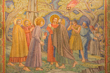 JERUSALEM ISRAEL  MARCH 3 2015: The mosaic of the betrayal of Jesus in Gethsemane garden in The Church of All Nations Basilica of the Agony by Pietro D'Achiardi 1922  1924. Éditoriale