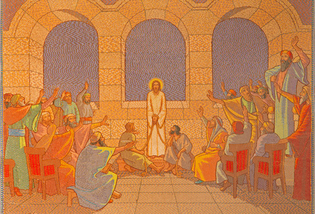 JERUSALEM ISRAEL  MARCH 3 2015: The judgment of Jesus before sanhedrin. Mosaic in Church of St. Peter in Gallicantu.