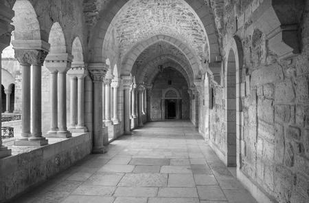atrium: BETHLEHEM ISRAEL  MARCH 6 2015: The gothic corridor of atrium at St. Catharine church. Editorial