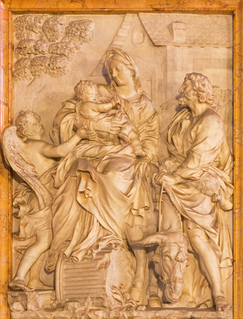 mary mother of jesus: ROME ITALY  MARCH 24 2015: The marble relief of  Flight of Holy Family into Egypt in church Chiesa di Santa Maria della Vittoria by Etienne Monnot 1657  1733.