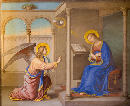 ROME ITALY  MARCH 25 2015: The Annunciation fresco by Joseph Erns Tunner 1830 in church Chiesa della Trinita dei Monti.