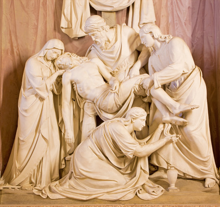 mother of jesus: ROME ITALY  MARCH 25 2015:  The Deposition of the cross sculpture in church Chiesa della Trinita dei Monti by Wilhelm Theodor Achtermann 1799  1884.