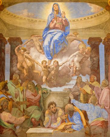 daniele: ROME ITALY  MARCH 25 2015: The Assumption fresco by Daniele da Volterra 1584  1550 in church Chiesa della Trinita dei Monti. Editorial