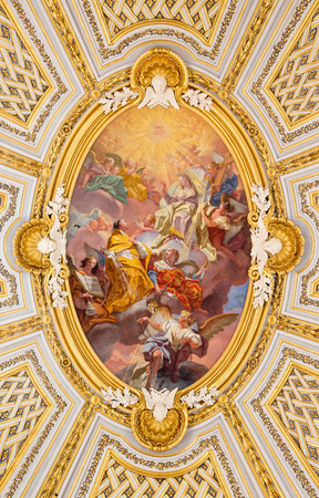 trinita: ROME ITALY  MARCH 25 2015: The fresco in cupola of church Chiesa della Santissima Trinita degli Spanoli  The Mission of the Trinitarian order 1748 by Gregorio Guglielmi. Editorial