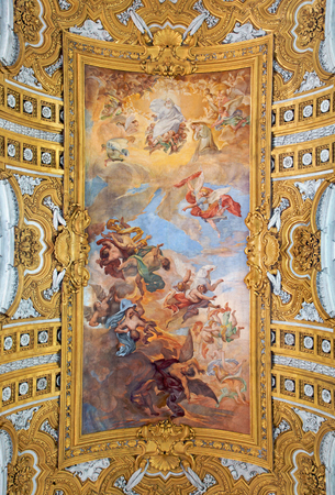 nave: ROME ITALY  MARCH 25 2015: The fresco The Fall of the Rebelious Angels on the vault of nave by Giacinto Brandi in baroque church Basilica dei Santi Ambrogio e Carlo al Corso. Editorial