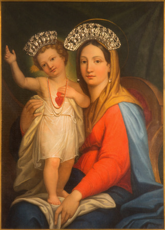 Mother Mary: ROME ITALY  MARCH 25 2015: The painting Madonna Auxilium Christianorium by Domenico Cassarotti before year 1856 on side altar of baroque church Basilica dei Santi Ambrogio e Carlo al Corso.