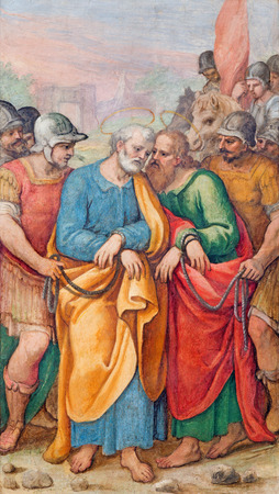 ROME ITALY MARCH 26 2015: The fresco of st. Peter and st. Paul in bond by G. B. Ricci from 16. cent. in church Chiesa di Santa Maria in Transpontina and chapel of st. Peter and Paul.