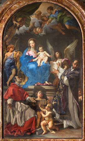enthroned: ROME ITALY  MARCH 26 2015: Madonna Enthroned with SS Charles Borromeo and Ignatius by Carlo Maratta 1680  in church Chiesa Nuova Santa Maria in Vallicella.