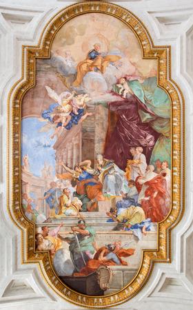 vincoli: ROME ITALY  MARCH 26 2015: The fresco on the vault of church Chiesa di San Pietro in Vincoli with the Il Miracolo delle Catene  the Chain Miracle by Giovanbattista Parodi 1674  1730.