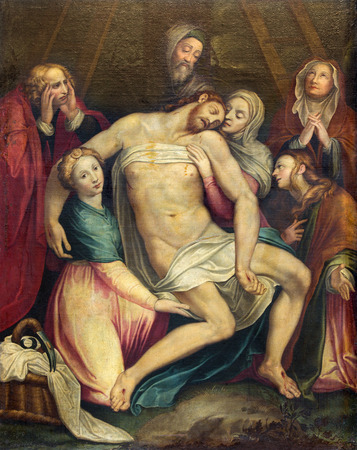 santa cross: ROME ITALY  MARCH 26 2015: The painting of Deposition of the cross Pieta in church Chiesa di Santa Maria ai Monti by Antonio Viviano 1560  1620 as the copy of Lorenzino da Bologna.